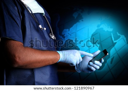 Doctor with cellphone in a dark background