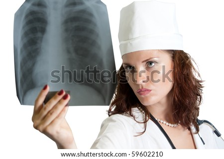 Doctor with chest X-ray isolated