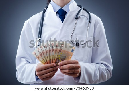 Doctor with euro money