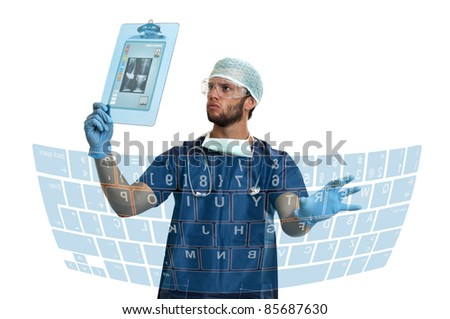 Doctor with high-tech screens in his lab