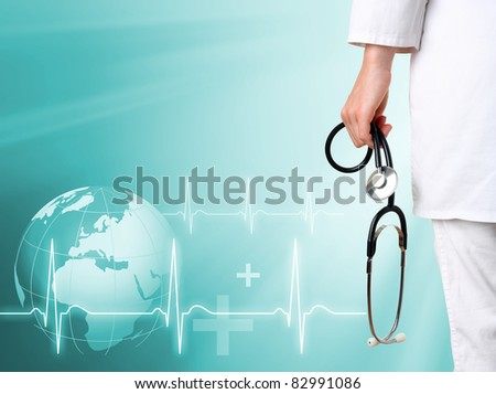 Doctor with medical green background