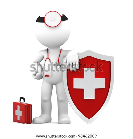 Doctor with shield. Medical protection concept. Isolated - stock photo