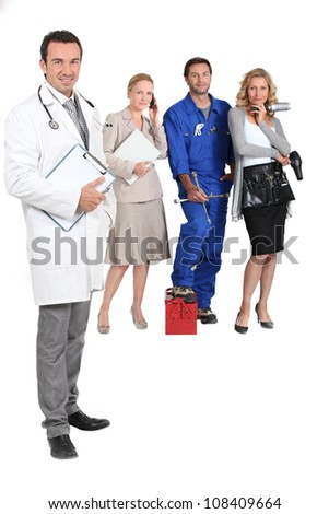 Doctor with stethoscope and clipboard, mechanic, doctor and secretary.
