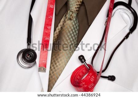 Doctor with Stethoscope and Red Measuring Tape.