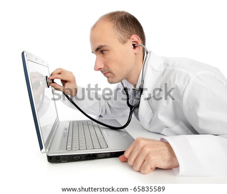 Doctor with stethoscope fixing laptop