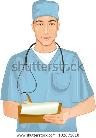 Doctor with stethoscope. Image of a young doctor with stethoscope in the hospital room who writes notes