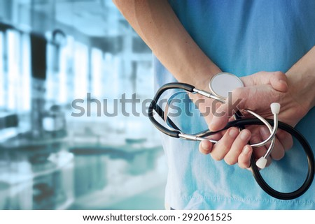 Doctor with stethoscope in a hospital