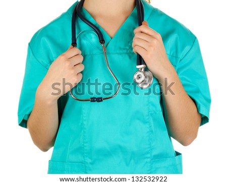 Doctor with stethoscope in hands isolated on white