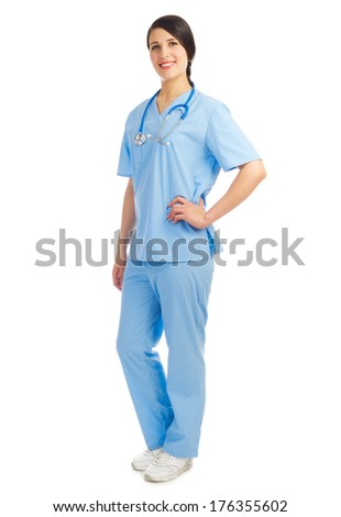 Doctor with stethoscope isolated on white