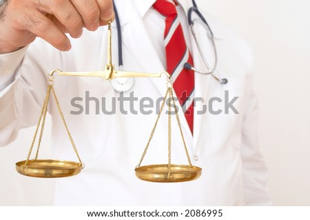 doctor with stethoscope on white background