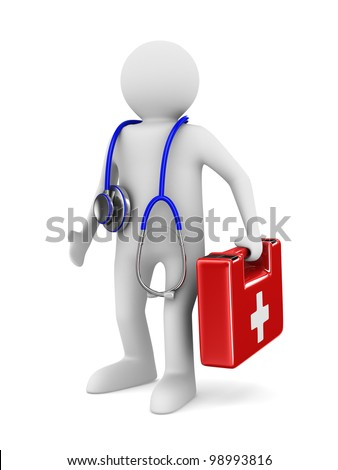 doctor with stethoscope on white background. Isolated 3D image