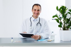 doctor with tablet, online consultation