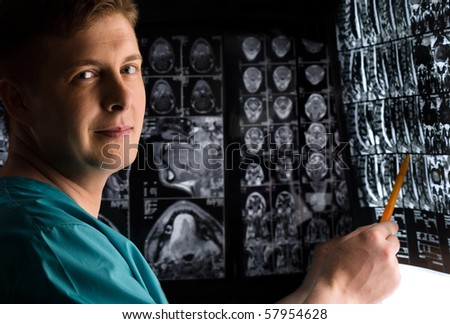 Doctor with x-ray photo