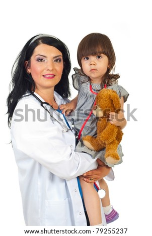 Doctor woman holding toddler girl isolate don white background