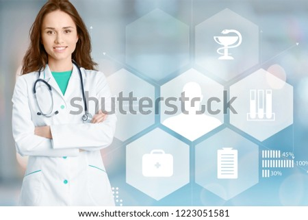 doctor woman in office, infographics and medical infographic about hospitals #1223051581