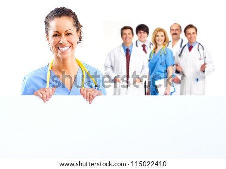Doctor woman with a banner. Isolated on white background.