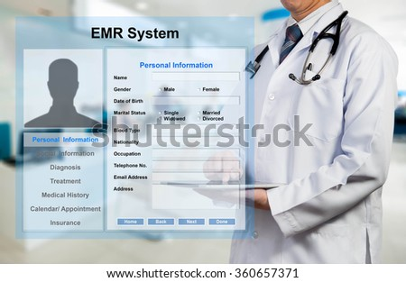 Doctor working with EMR - Electronic Medical Record system