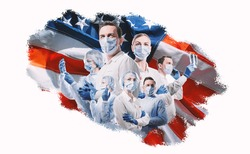 doctors and nurses on american flag background
