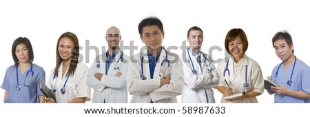 Doctors and Nurses standing with white background