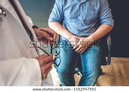 Doctors are consulting with young men about prostate cancer and venereal disease, including sexual dysfunction.Men Health Concept