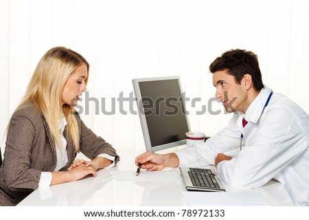 Doctors call. Patient and doctor talking to a doctor's office