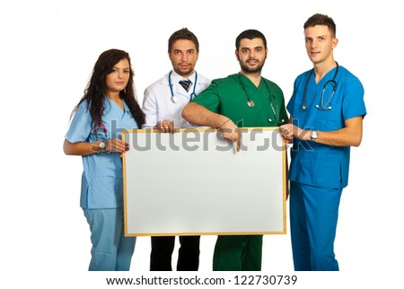 Doctors holding blank board isolated on white background