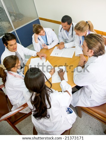 doctors in a hospital having a meeting