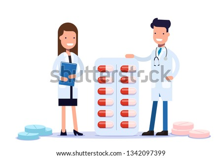 Doctors Man and woman are standing near medications, drugs. Good Smiling Doctor. Tablets for patients. Flat  illustration