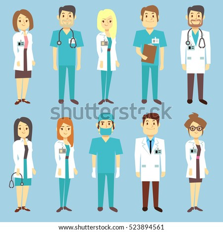 Doctors nurses medical staff people characters in flat style. Practitioner and surgeon in uniform, occupation professional physician illustration