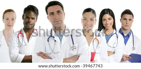 Doctors team group in a row on white background men and women doctor [Photo Illustration]