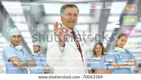 Doctors team in medical facilities with modern screen