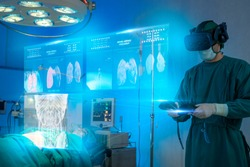 Doctors wear VR goggle discussing in operation room with patient, AR augmented reality surgery technology hospital health care. Future digital technology futuristic background.