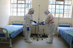 Doctors wearing protective gear in an Isolation Ward of a hospital in Nairobi demonstrate their preparedness to handle an outbreak of Corona Virus if reported in the country.
