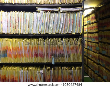 Document control room for important documents. Medical records room for storage data patients in hospital.