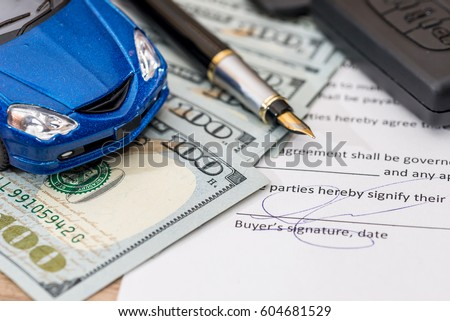 document, dollar, pen, calculator and toy car with keys for design #604681529