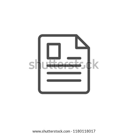 Document line icon isolated on white