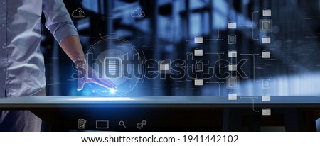 Document Management System or DMS setup by IT consultant with modern computer are searching managing information and corporate files.Business processing,Software for archiving concept.