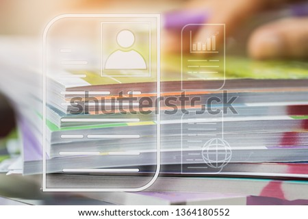 Document Report and business data system business HR technology Concept: Businessman Manager hands holding pen for checking and signing white documents reports papers of files icon in modern office #1364180552
