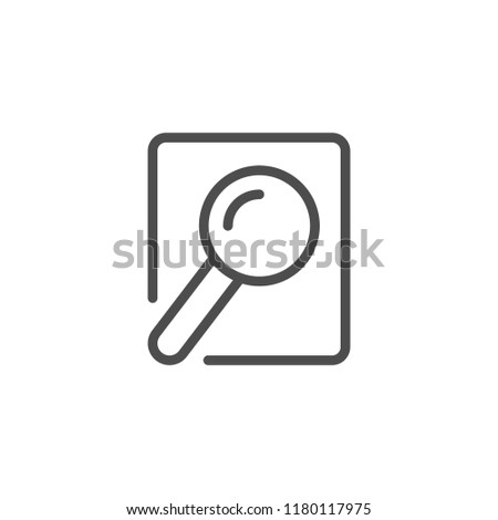 Document searching line icon isolated on white