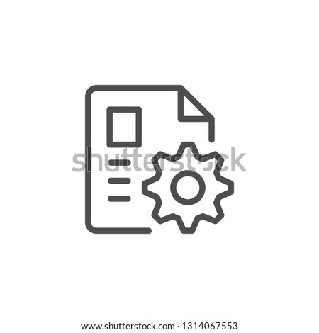 Document settings line icon isolated on white