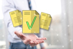 Document validation concept above the hand of a man in background