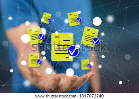 Document validation concept above the hand of a man in background Photo stock ©