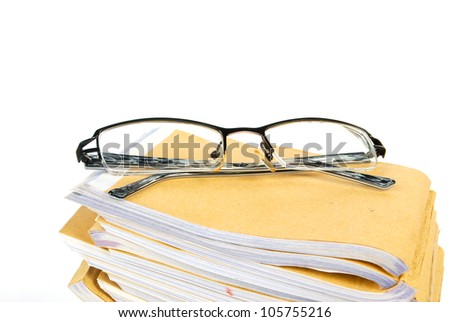 Document with glasses
