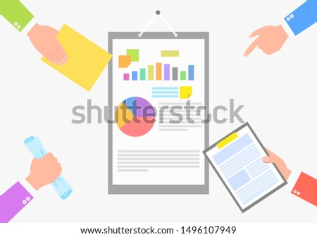 Document with statistical information color card, isolated on white background raster illustration of arms in business suits holding veried papers