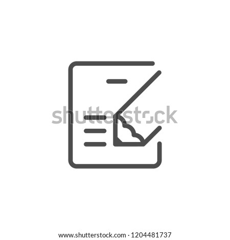 Document writing line icon isolated on white