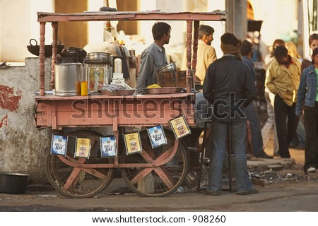 Documentary: Life in India. Fast food in Agra, India