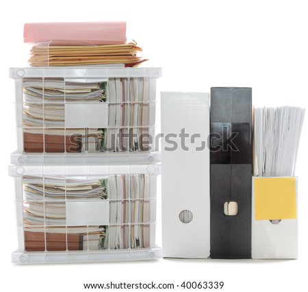Documents and folders in a files and boxes on white white, can be used for office and work themes