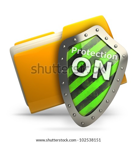 documents folder protected by green shield isolated on white background 3d illustration. high resolution
