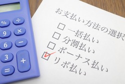 Documents in Japanese about credit cards. Translation: Selecting a payment method. Lump sum, installment, bonus, revolving payments.