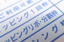Documents in Japanese. Translation: Available amount, one shopping, shopping revolving, installments, cashing.